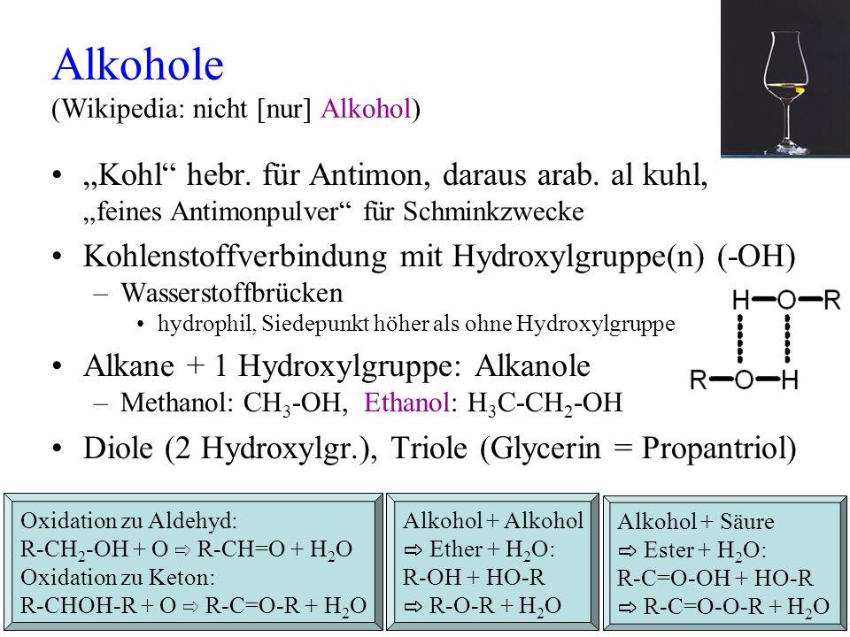 Alkohole (Wikipedia: nicht [nur] Alkohol)